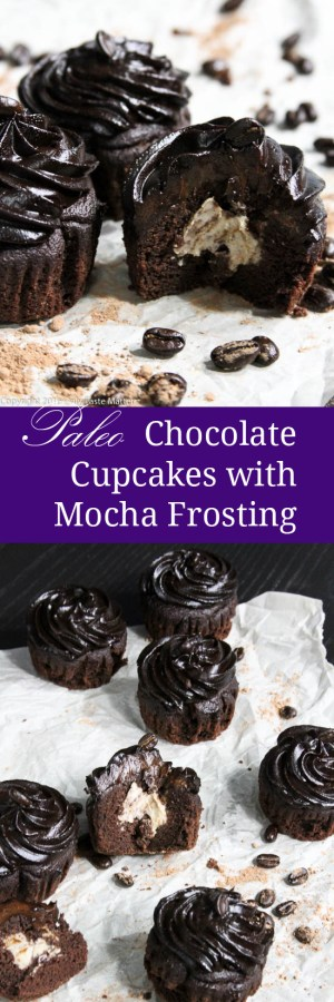 Paleo Chocolate Cupcakes with Mocha Frosting filled with Coffee Whipped Cream | Only Taste Matters