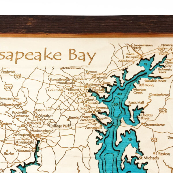 Chesapeake Bay Wood Map 3D Topographic Wood Chart