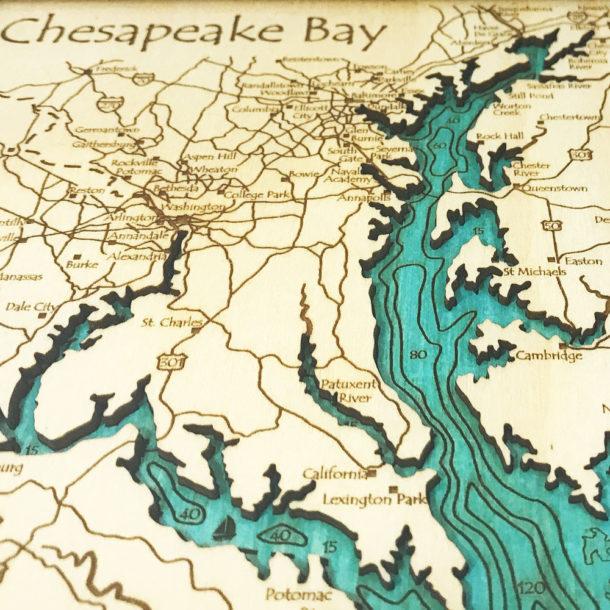 Chesapeake Bay Map Nautical Wood Chart, 8\