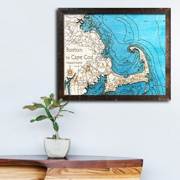 Boston and Cape Cod, MA Single-Depth Nautical Wood Chart, 11\