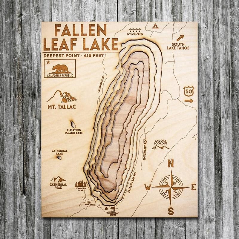Fallen Leaf Lake, CA Wood Map 3D Topographic Wood Chart