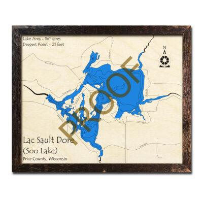 Lake Dubay, WI Wood Map 3D Nautical Wood Charts