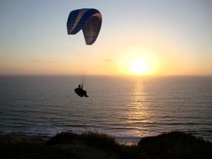 Paraglide at sunset