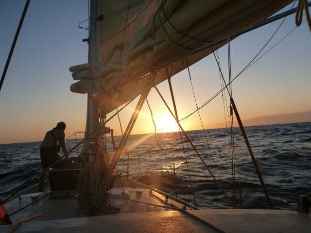 sunset at sea sailing ocean on the horizon line blog
