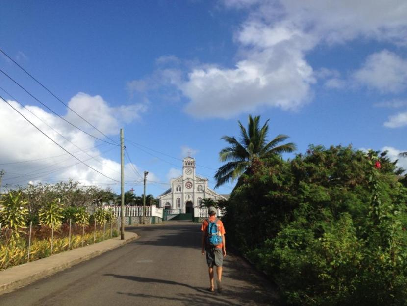 rob in front of tongan church in neiafu rob and bri sail travel pacific polynesia adventure