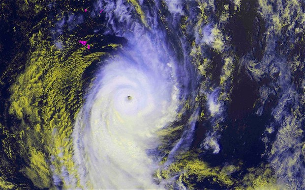 Satellite photo of Cyclone Ian approaching Tonga.