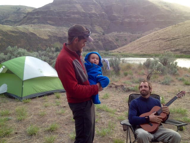 Uncle Kipper serenading us before bedtime on the John Day River.