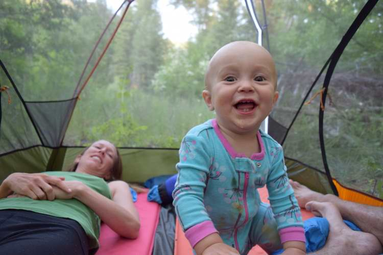 "A tight two-man tent with  all three of us is hours of fun for Talon and redefines ""snuggling"" at night."