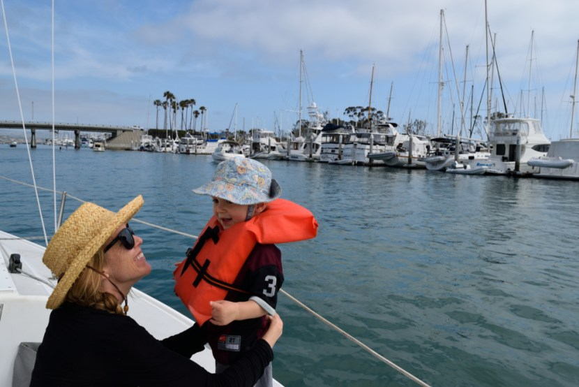 Brianna Randall sailing with a baby in San Diego