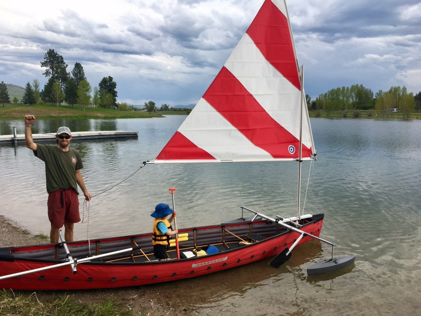 rob roberts with a sailing canoe in Montana