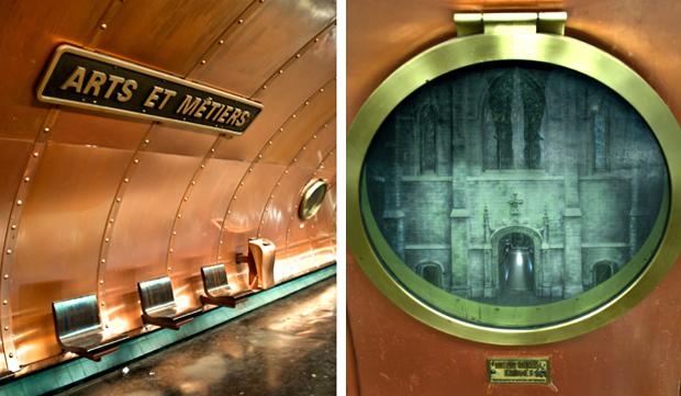 Detail of Paris Arts et Metiers Metro platform