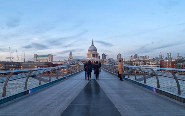 Millennium Bridge, London's South Bank at dusk