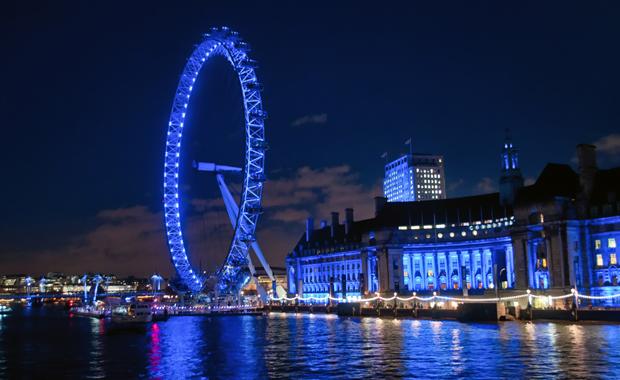 London Eye, London's South Bank at dusk