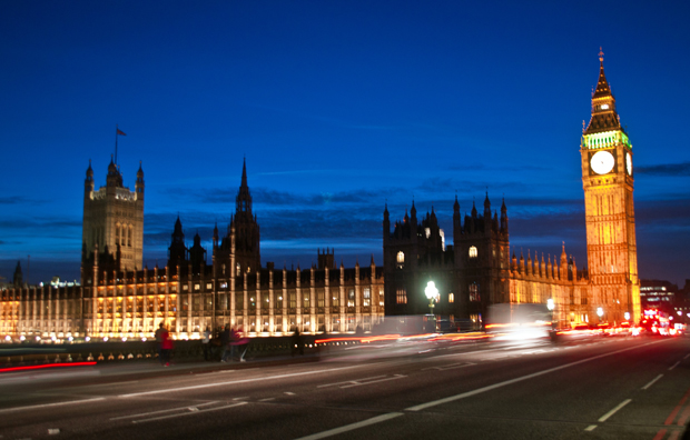 Houses of Parliament, London's South Bank at dusk