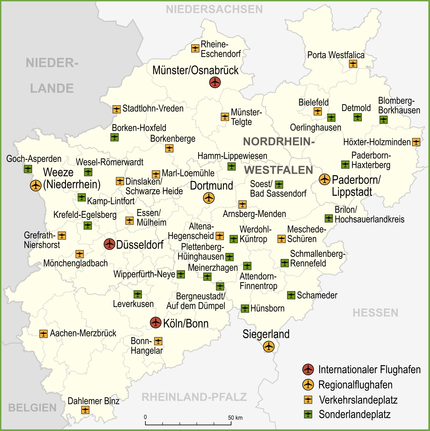 Osnabrück Maps Map Of Airports In North Rhine Westphalia