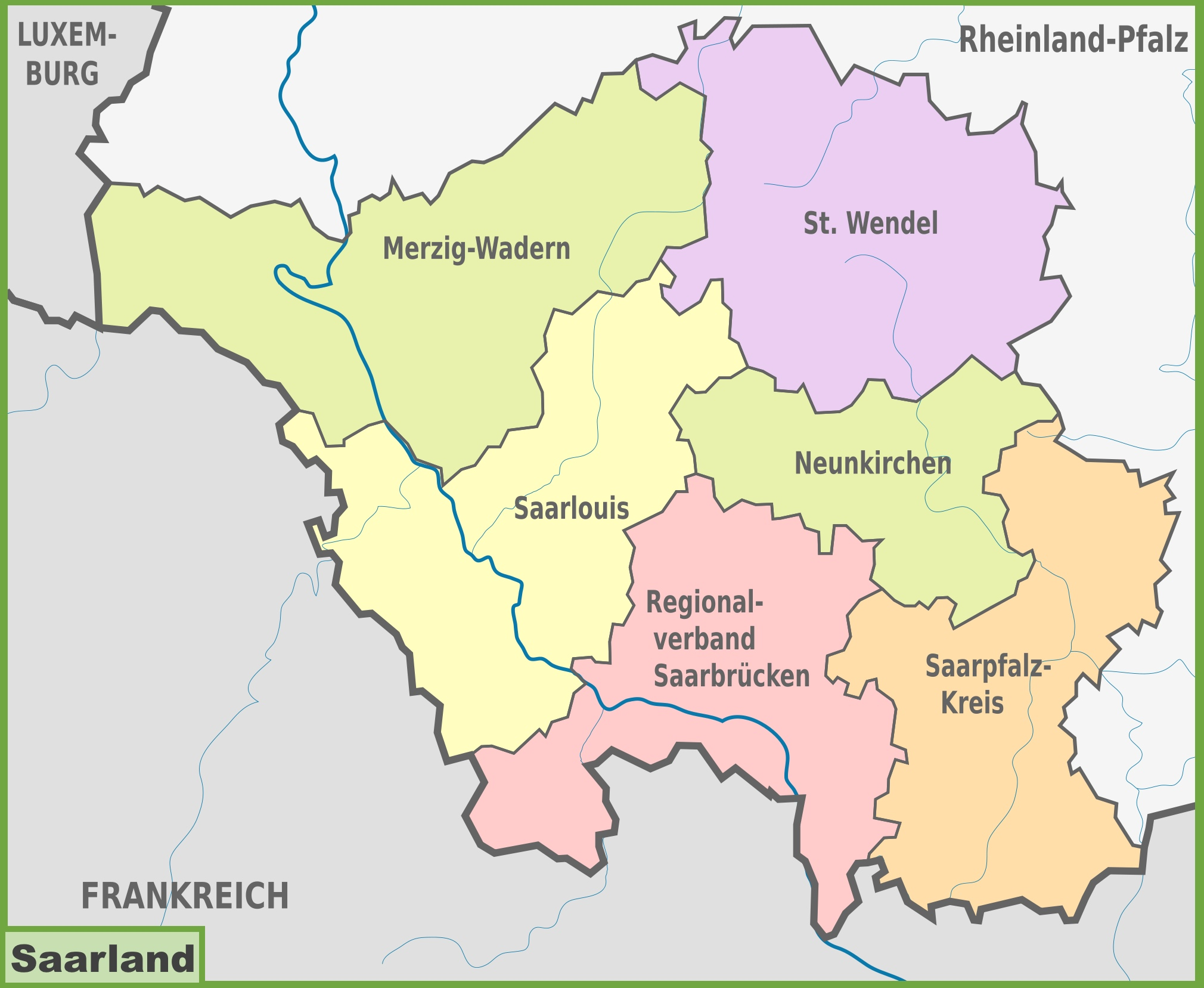 Maps Saarbrücken Administrative Divisions Map Of Saarland