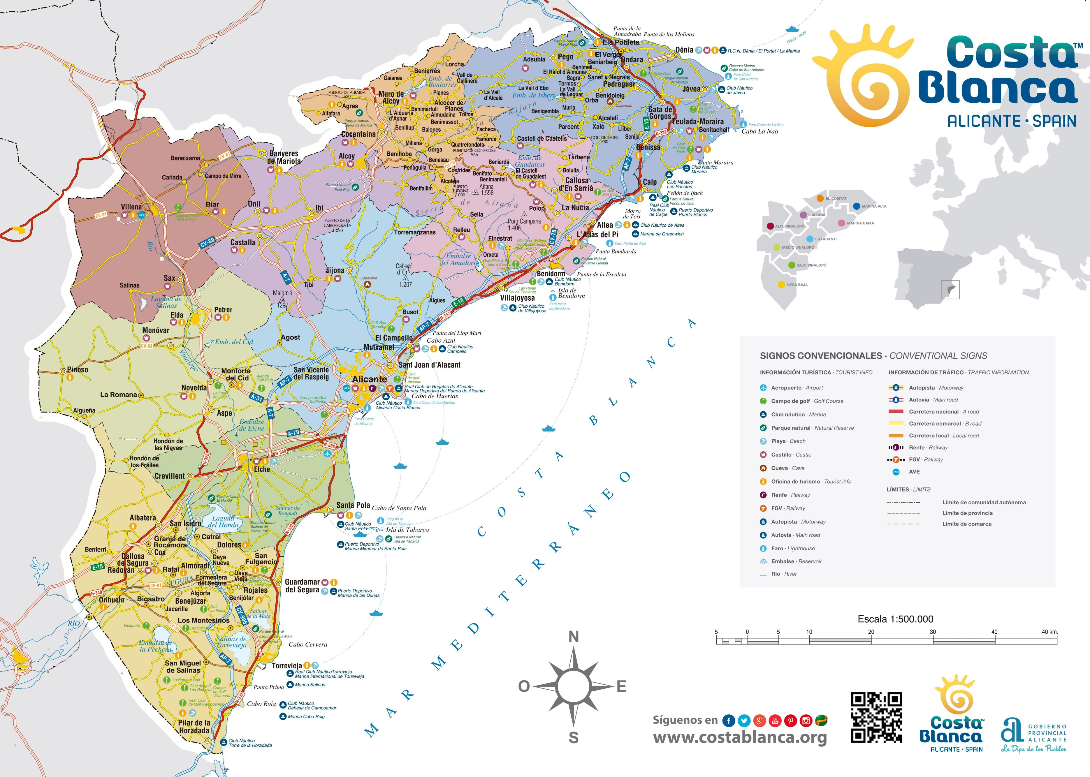 Costa Blanca Costa Blanca Tourist Map