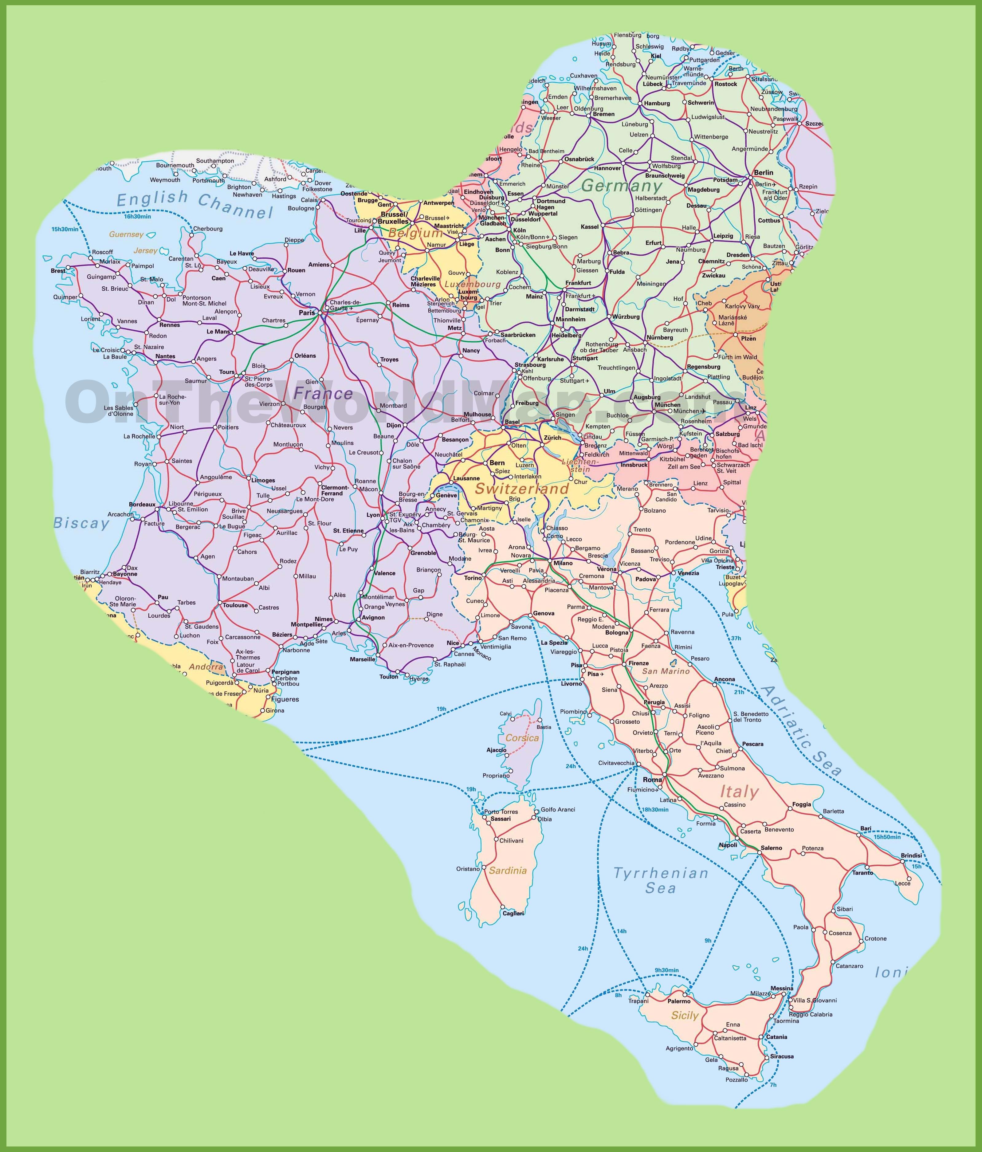 Maps To Print Swerc - Madrid Germanyıtalyspainfrancelondondenmarkmaptravel Travel