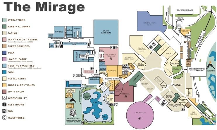 Las Vegas The Mirage Hotel Map