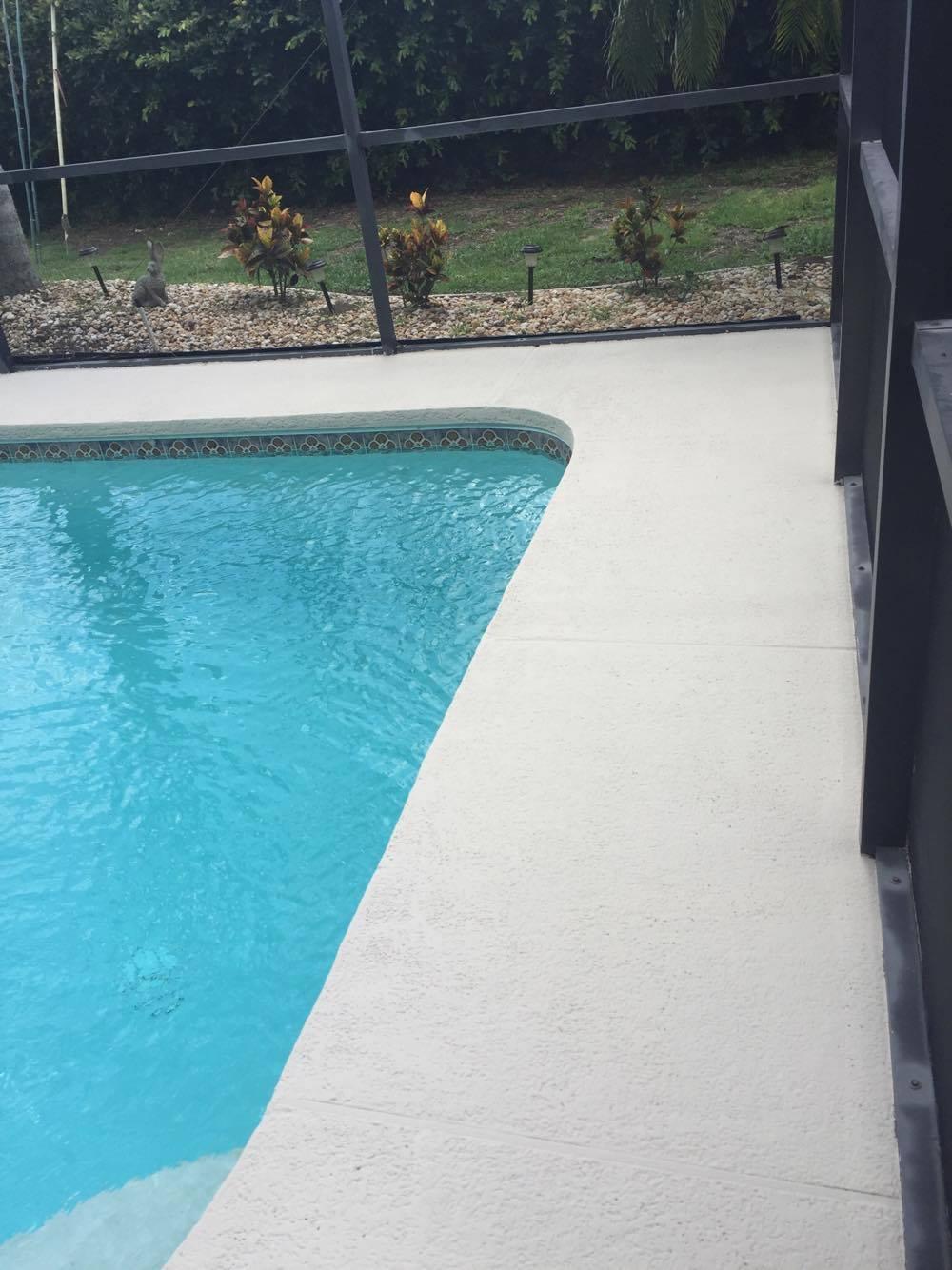 Pool deck restoration with a color change on time pressure washing - Pool restoration ...