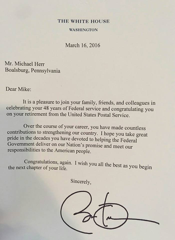 Mike The Mailman Receives Congratulatory Letter From President Obama