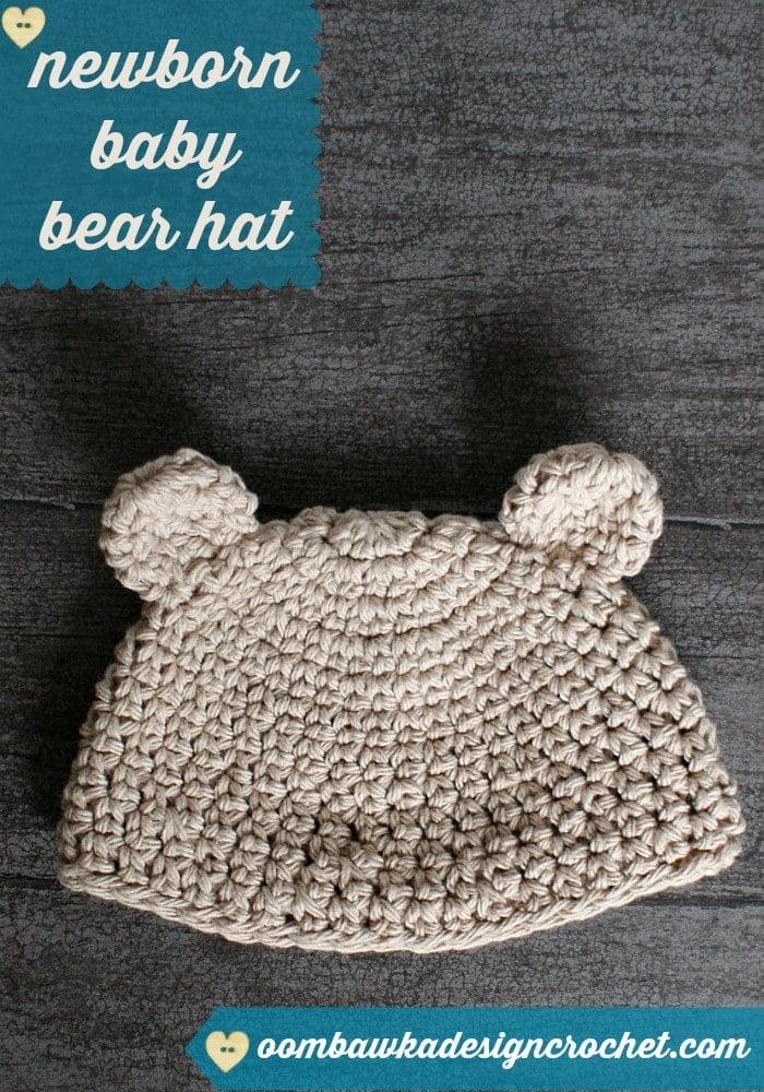 Crochet Stitches Esc : Newborn Baby Bear Hat ? Oombawka Design Crochet