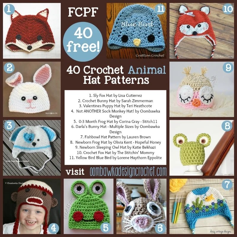 Crochet Childrens Animal Hats Patterns images