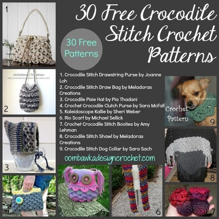 Free Crochet Patterns Using The Crocodile Stitch : 30 Free Crocodile Stitch Crochet Patterns Oombawka ...