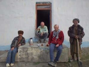 Relaxing with David and friends outside our guesthouse in Sarhad.