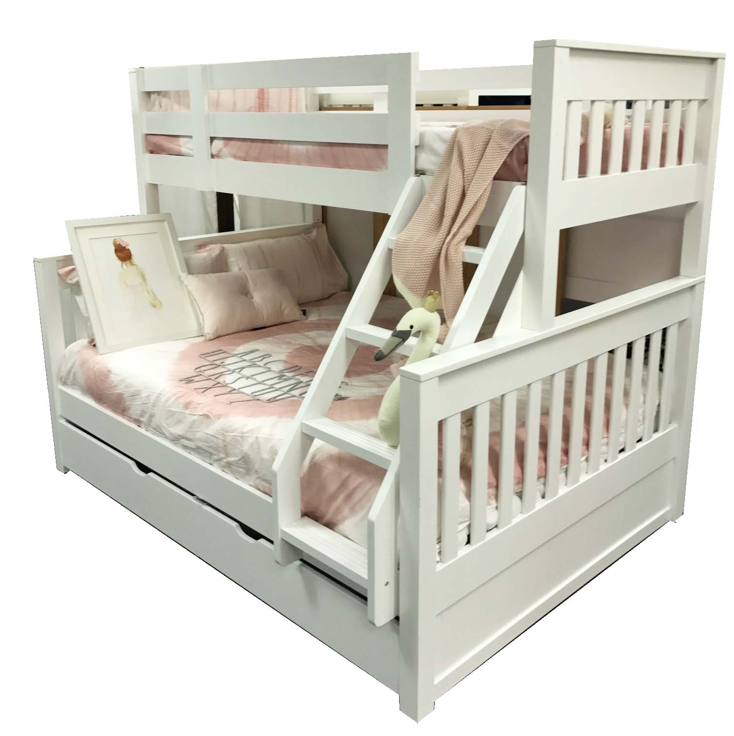 Tweepersoons Stapelbed Riley Single Over Double Bunk Inc Trundle In Stock Ready