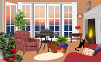 Clipart - Fictional Living Room With An Ocean View