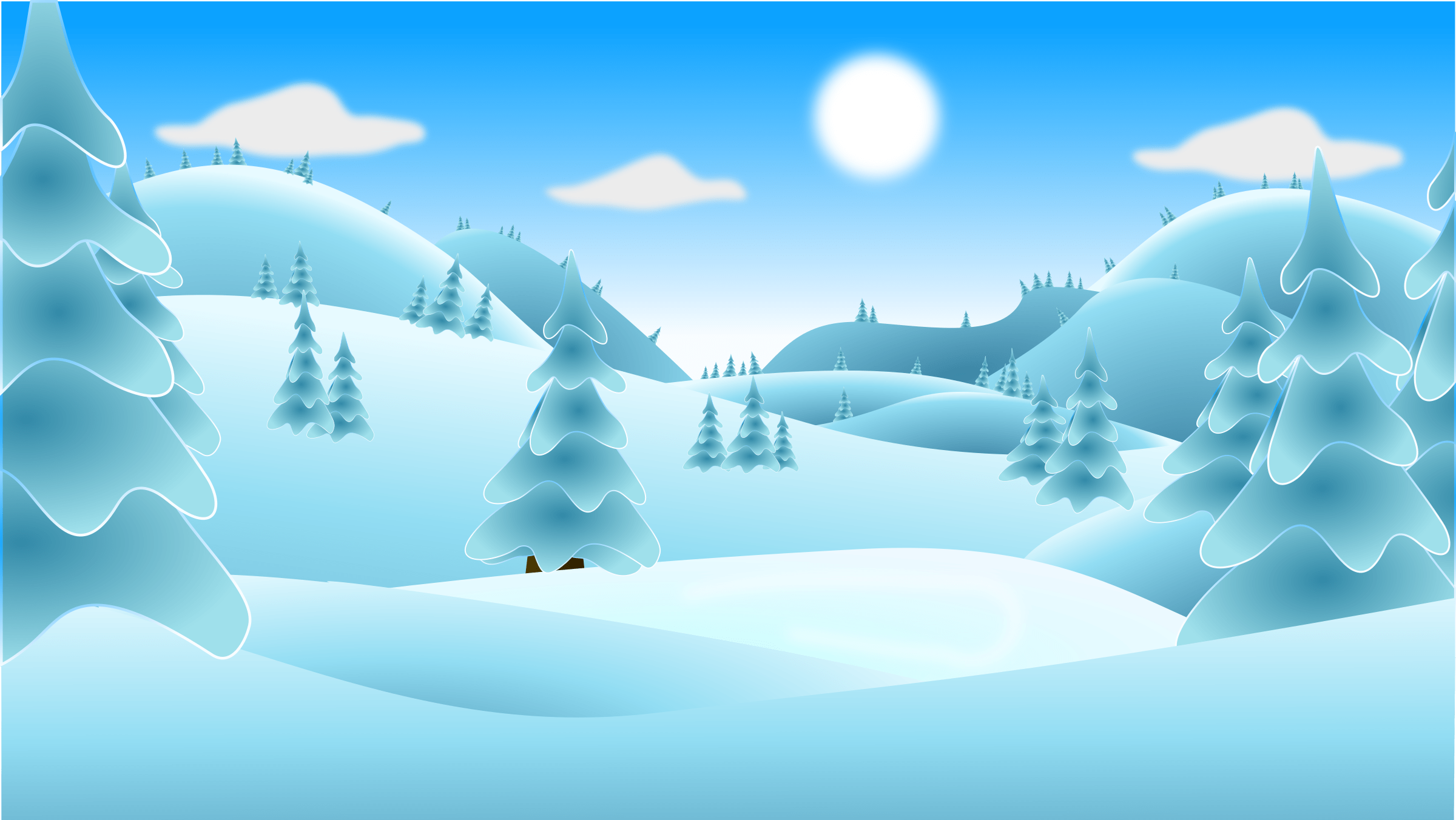 Vector Background Sky Blue Png Clipart Winter Landscape No House