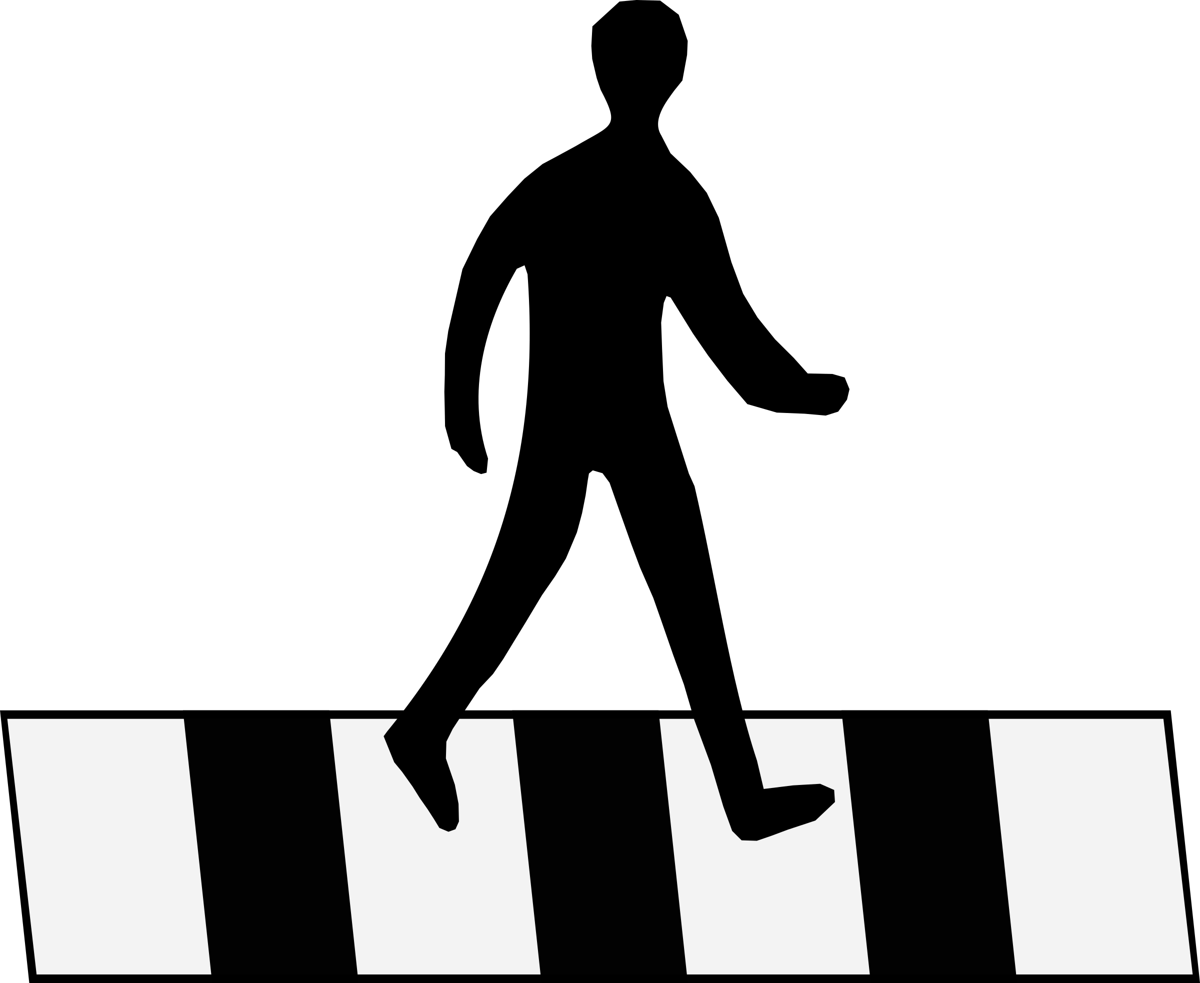 Road Crossing Clipart Black And White Clipart Crosswalk Man