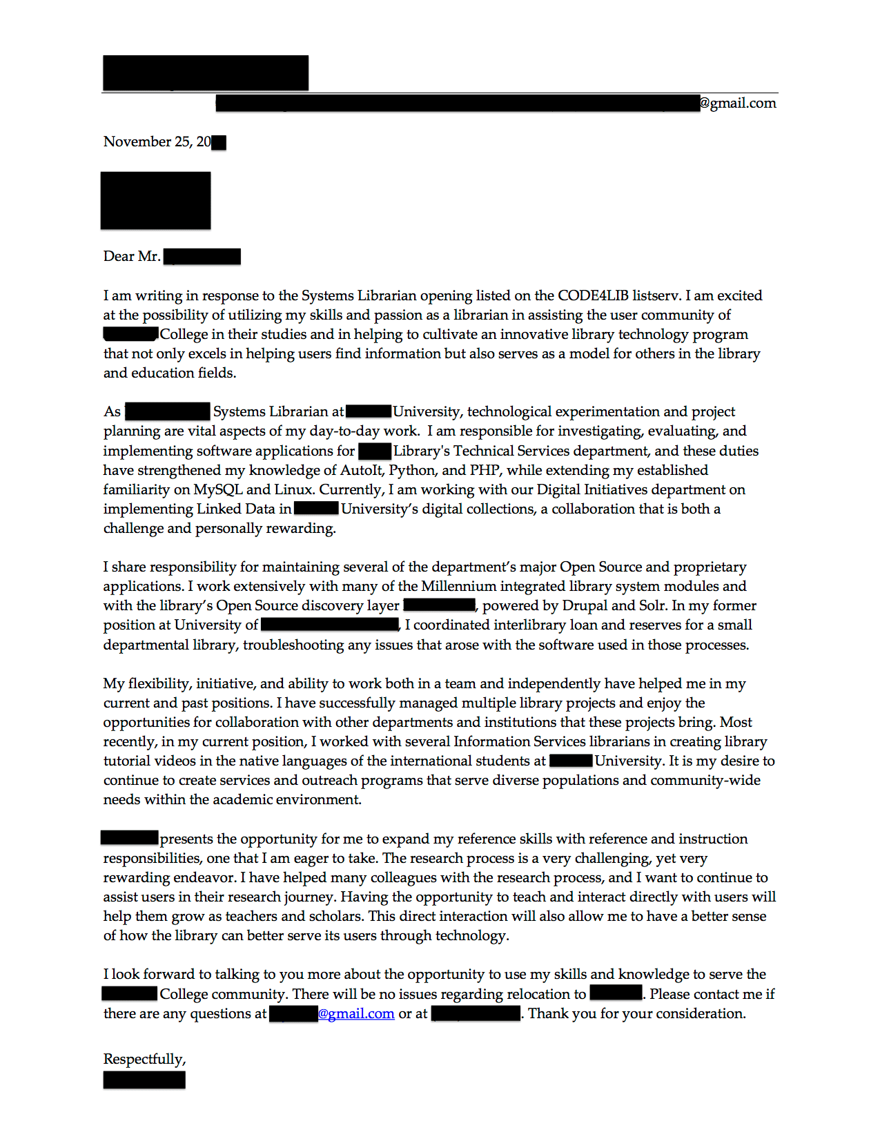 librarian cover letter