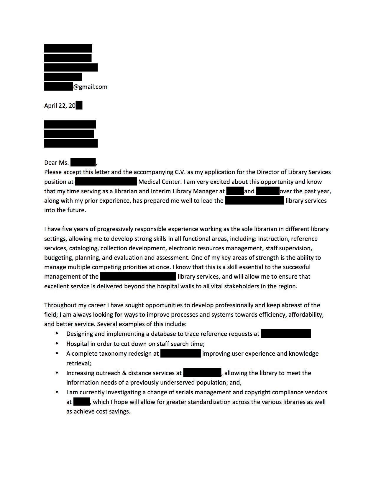 cover letter for hospital administration