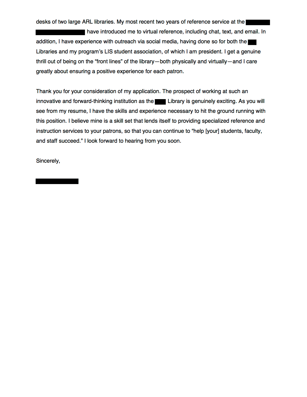 how to address anonymous cover letter