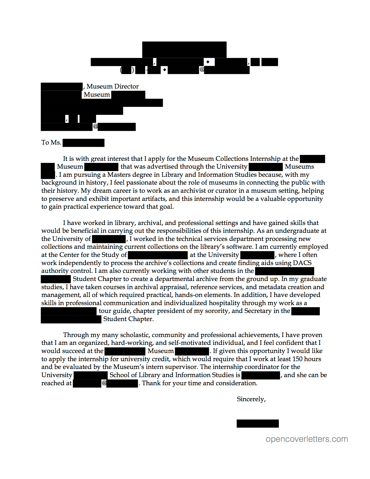 cover letter for museum internship
