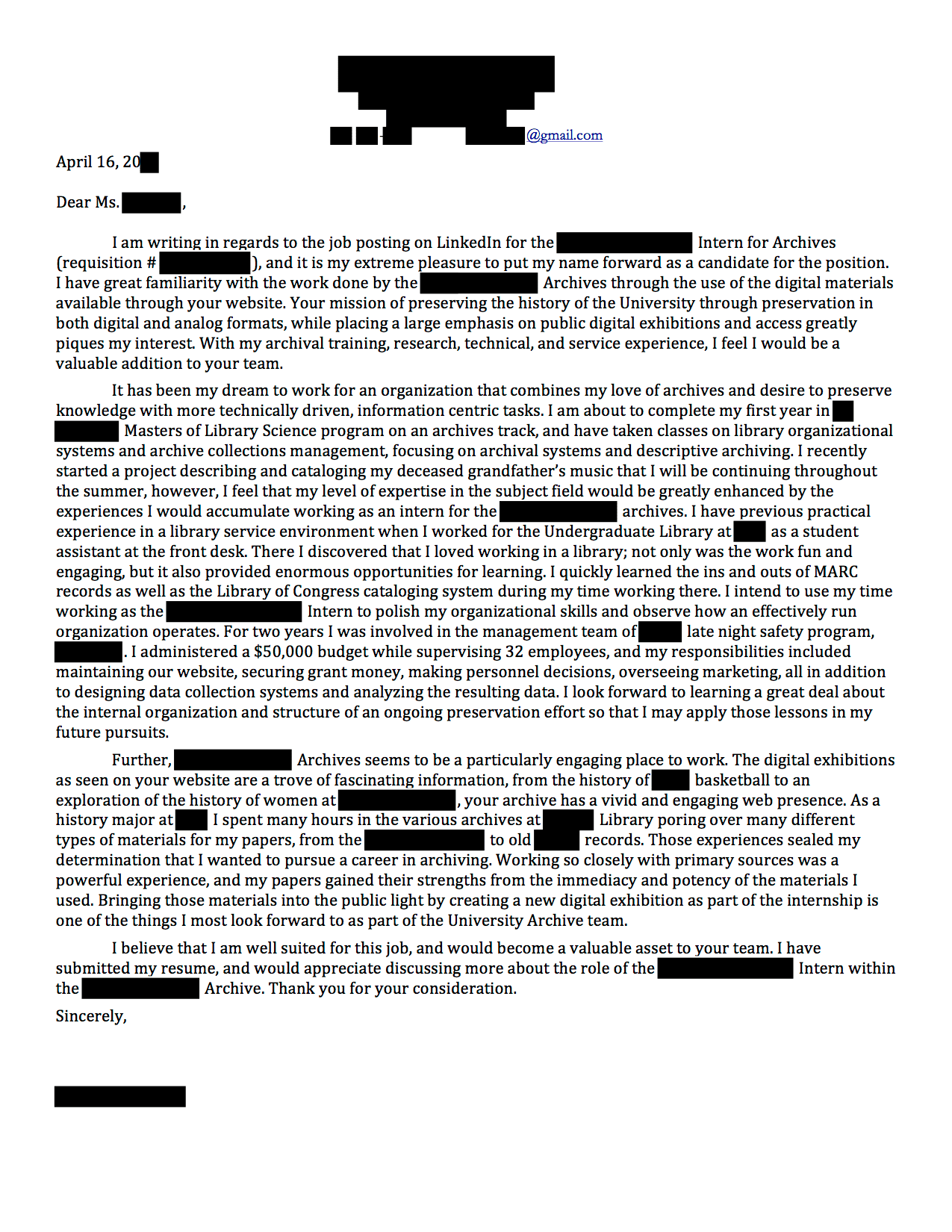 google internship cover letters