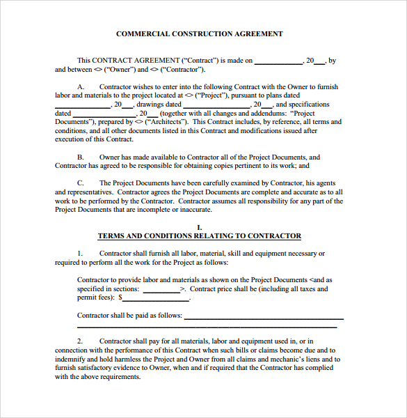 Construction Agreement Forms Construction Agreement Forms - contractual agreement template