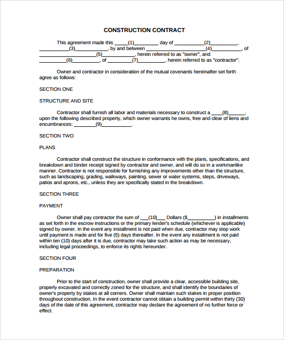 template-construction-contract - free sample construction contract