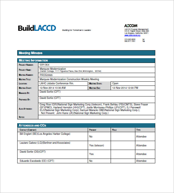 Sample-Construction-Meeting-Minutes-Templates - example of meeting minutes template