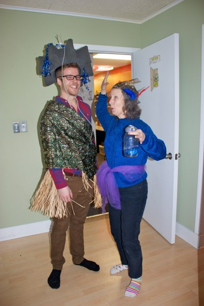 In our created game, Jacob and Rebecca got to try on some good looks.