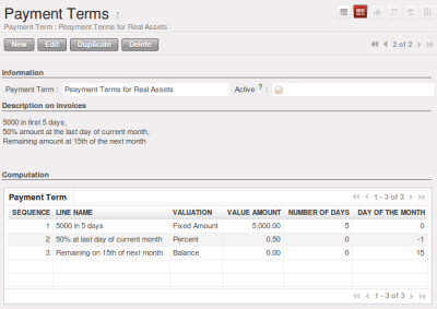 Payment Terms — OpenERP for Accounting and Financial Management