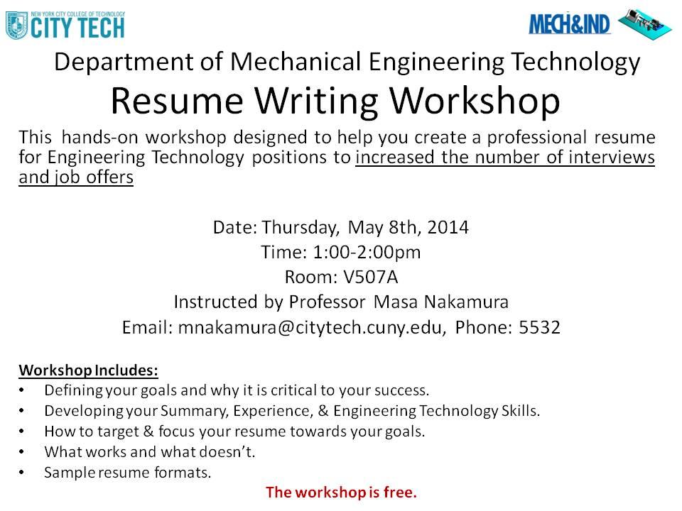 Writing Resume Workshop I finished 05/08/2014 Energy and - resume workshop