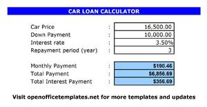 Car Loan Calculator | Open Office Templates