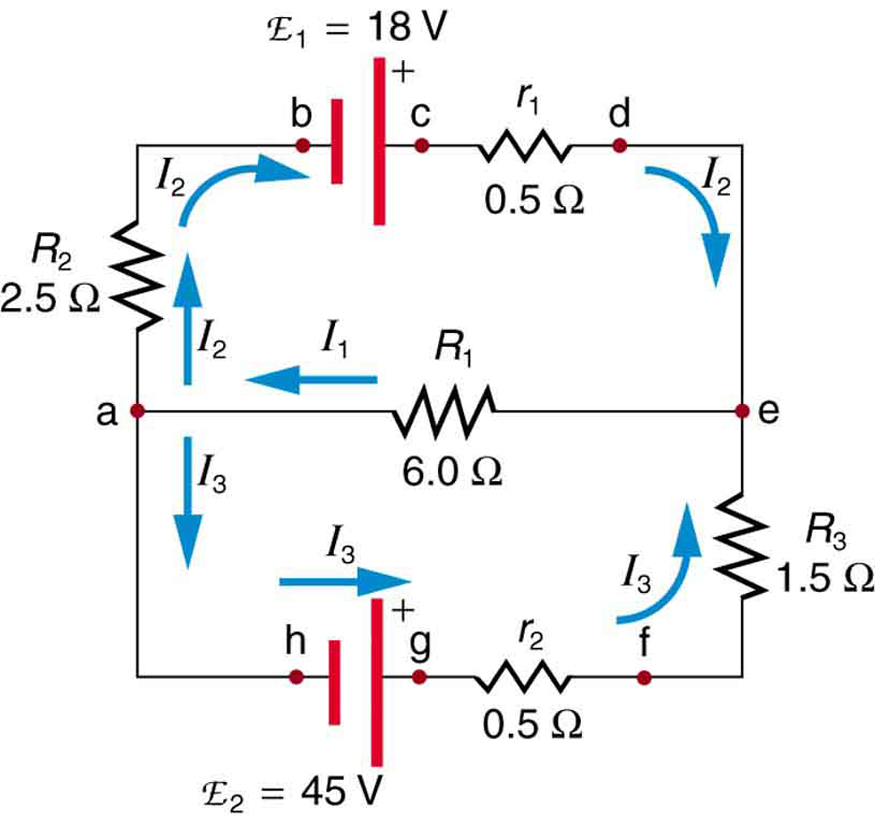 find the currents flowing in the circuit in link