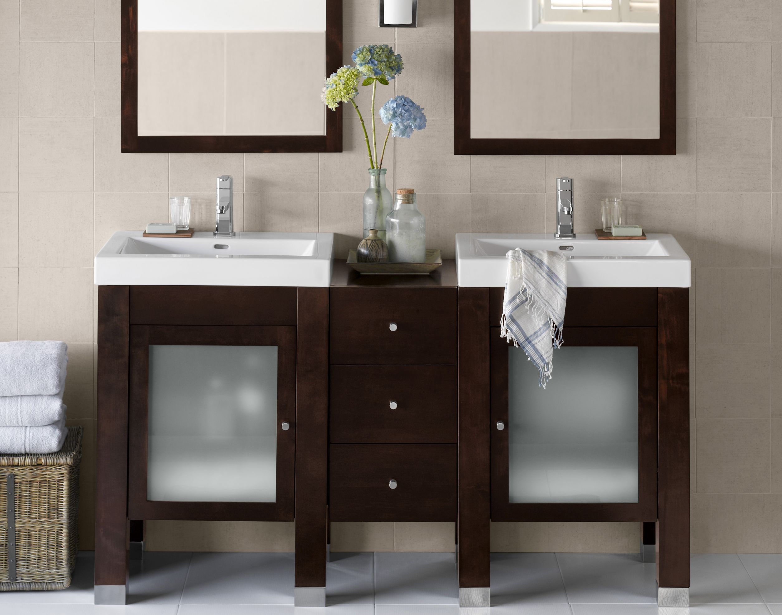 Narrow Double Sink Vanity Furniture Bathroom Popular Design Modern Narrow Double