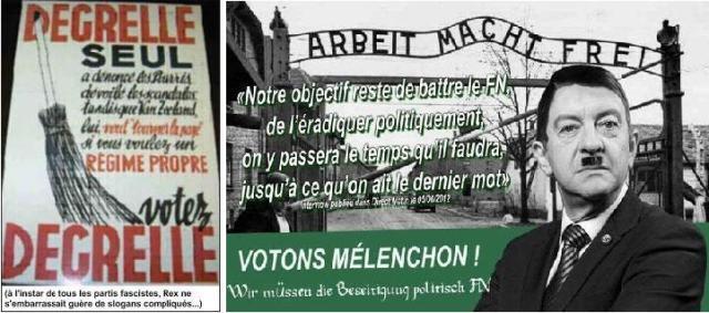 À gauche, l'affiche twittée par Quatremer contre Mélenchon. À droite, le tract du Front National contre Mélenchon
