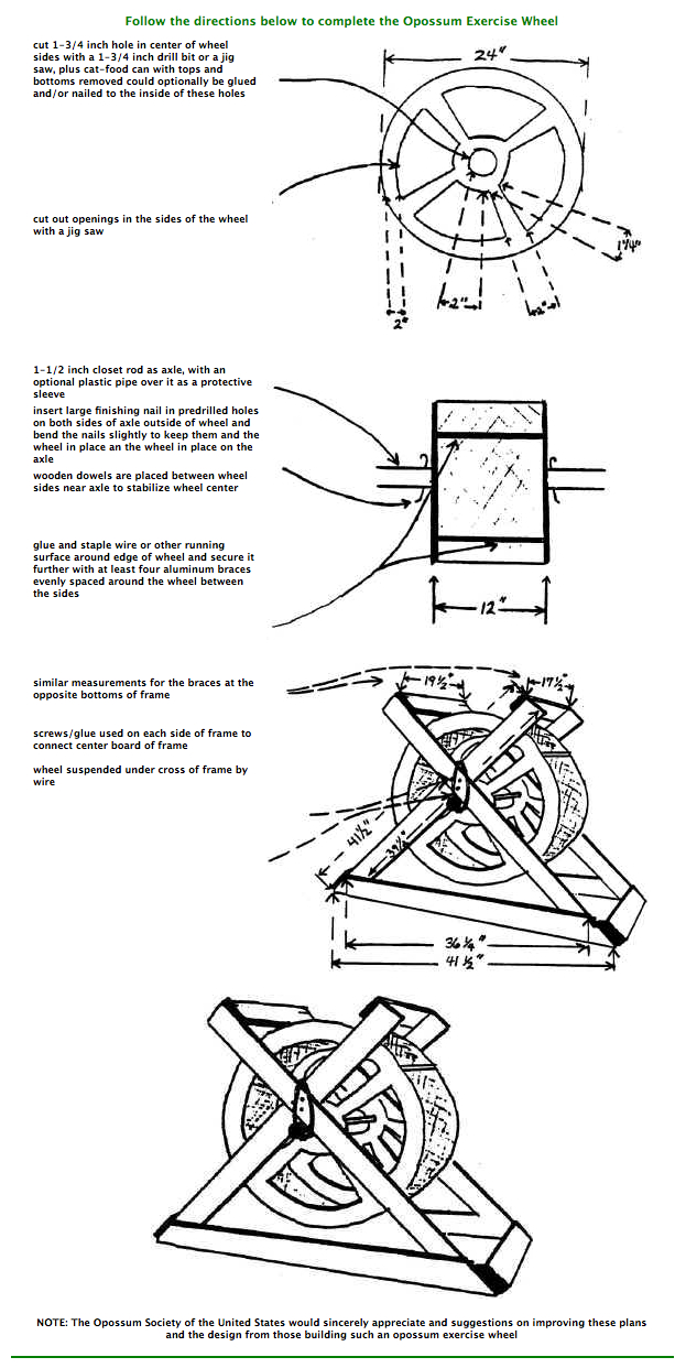 Plans for Opossum Exercise Wheel Opossum Society of the United States