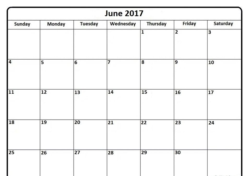 Blank Calendar June 2017 Printable Template Download - Free HD Images - printable blank calendar